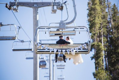 Just Married on Beaver Creek Ski Lift