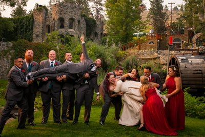 Bridal Party Group Photo at Dunafon Castle Fantasy Wedding