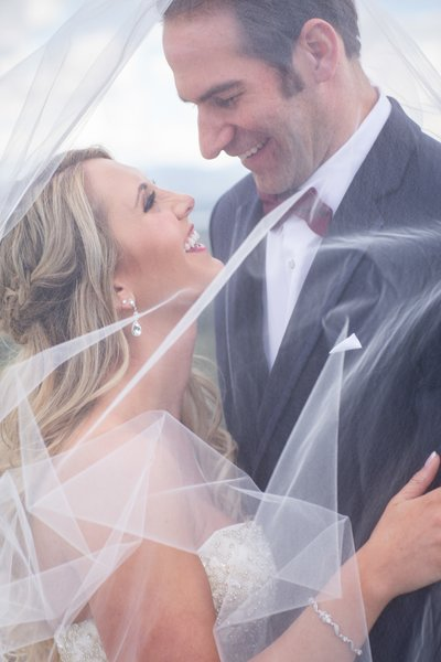Cherokee Ranch Castle Bride Groom Veil Portrait