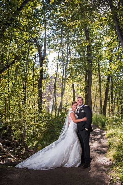 Beaver Creek Forest Summer bride and groom Portrait