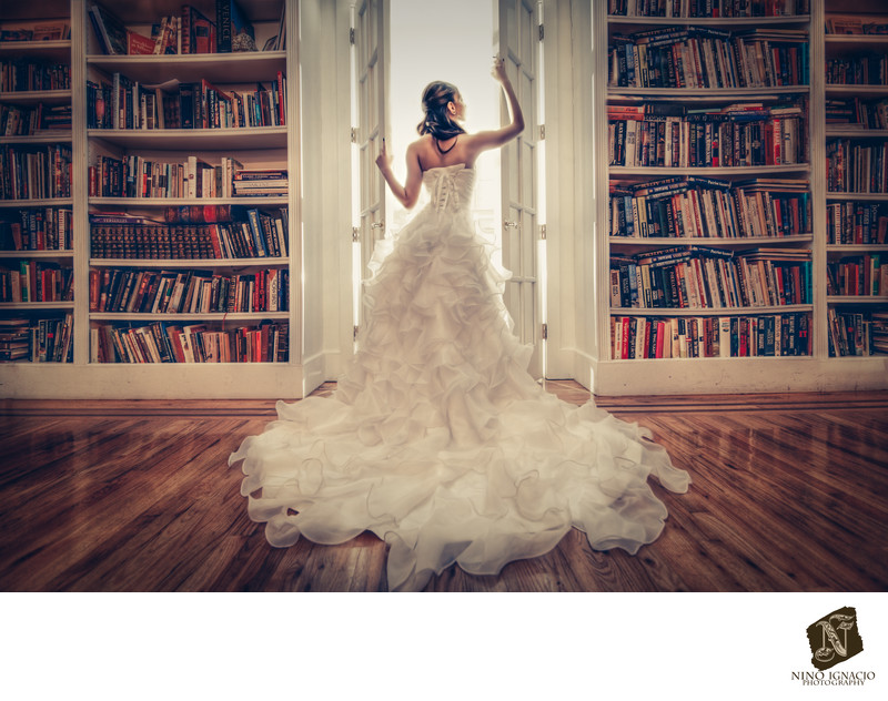 Bride in Library at James Ward Mansion