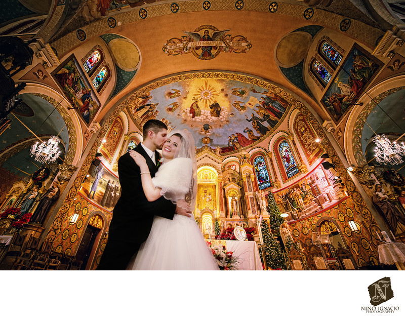 Bride and Groom at St.Casimir's Church, Newark NJ