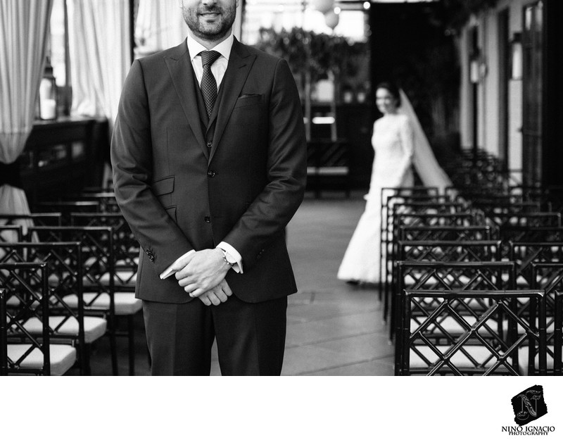 Bride and Groom first look- Gramercy Park Hotel