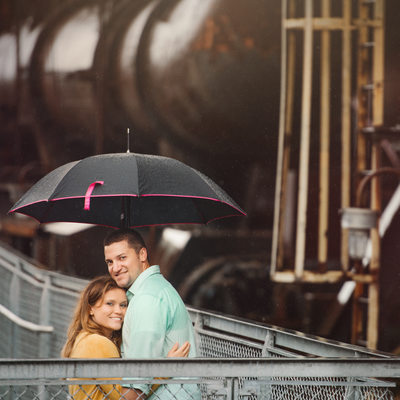 Engaged Couple-Steel Stacks