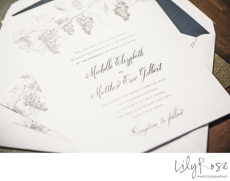 Wedding Invitation Details Meritage Resort and Spa
