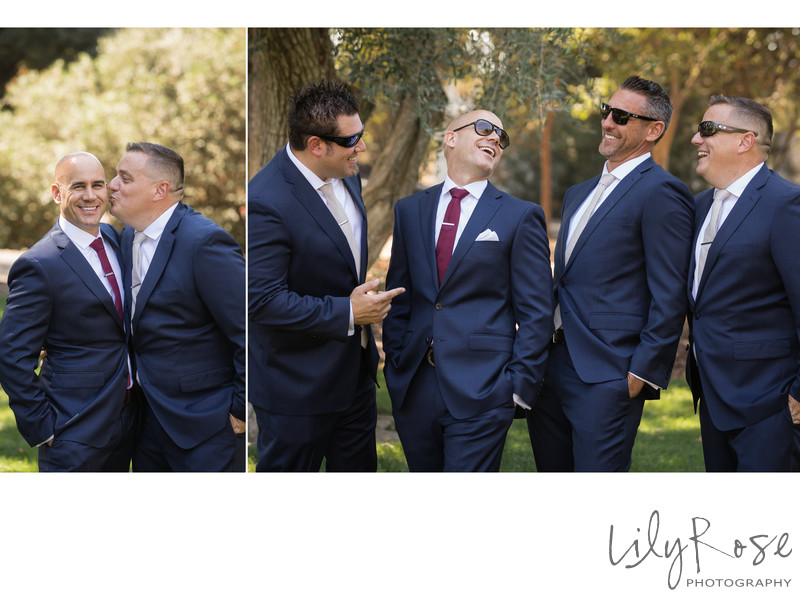 Laughing Groomsmen at the Maples Event Center