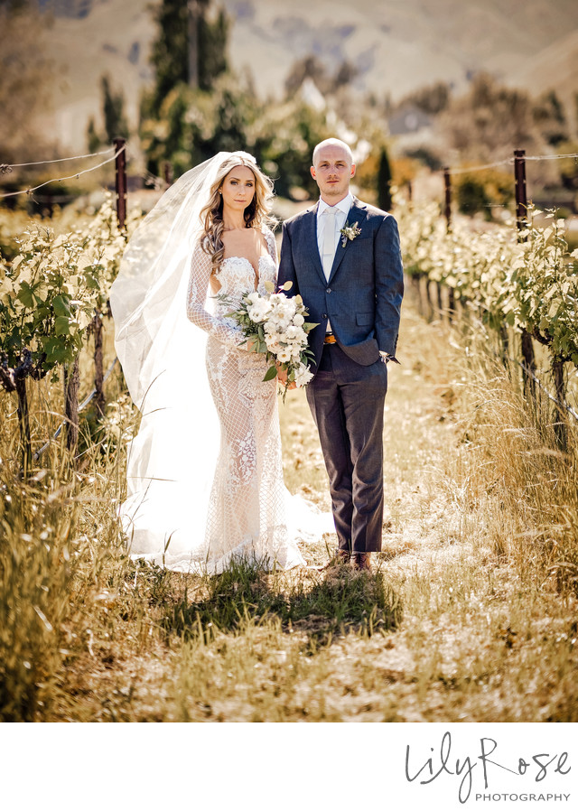 Chic Wedding Couple at The Barn at Tyge William Cellars