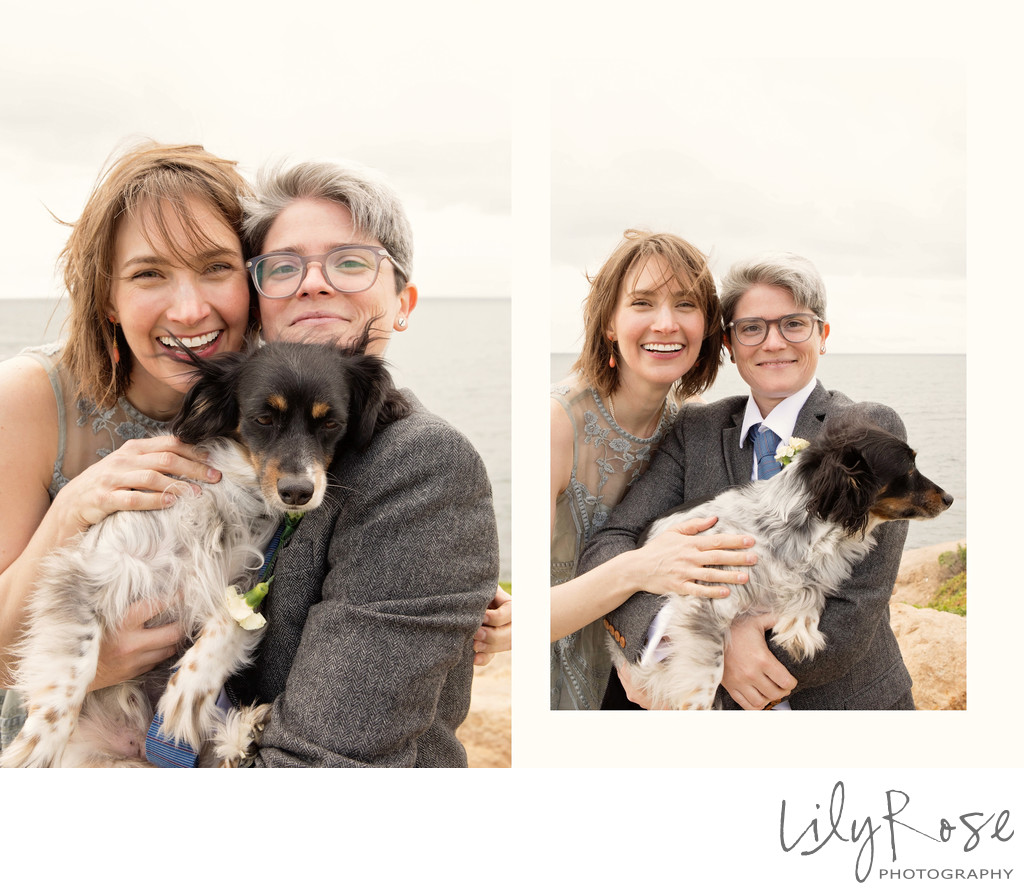 Family Dog in Same-Sex Micro Wedding