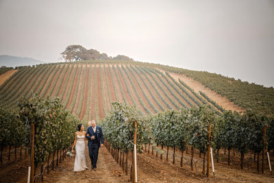 Romantic Wedding Day Walk at Kunde Family Winery