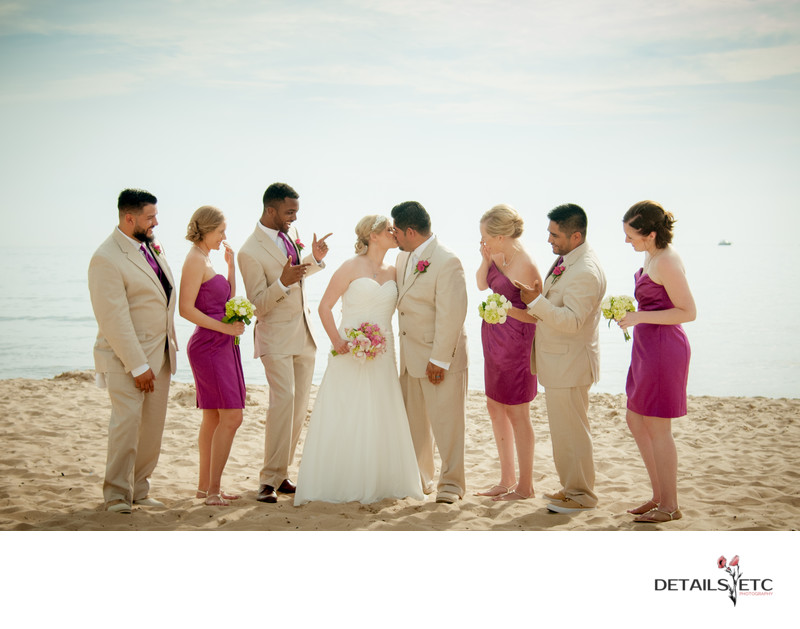 Bridal Party Photos at South Haven Beach MI