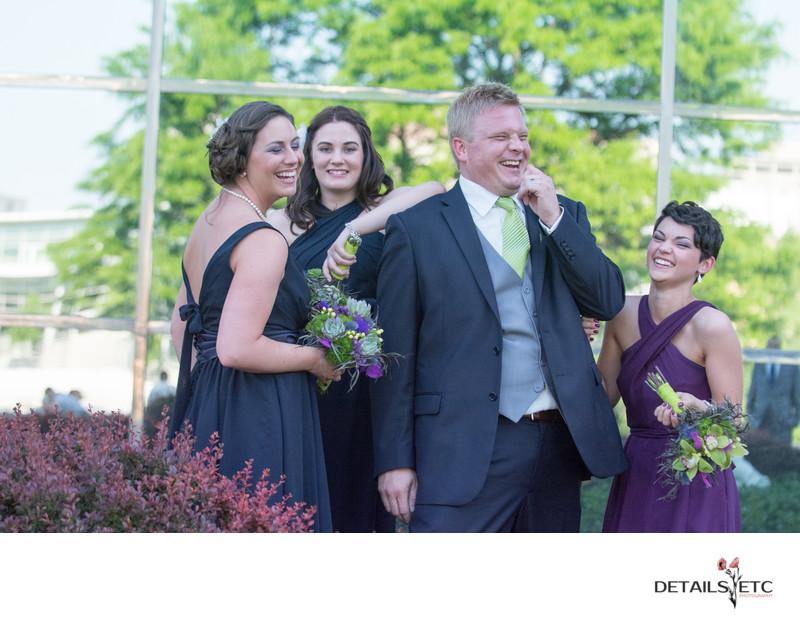 Groom with Bridesmaids Grand Rapids