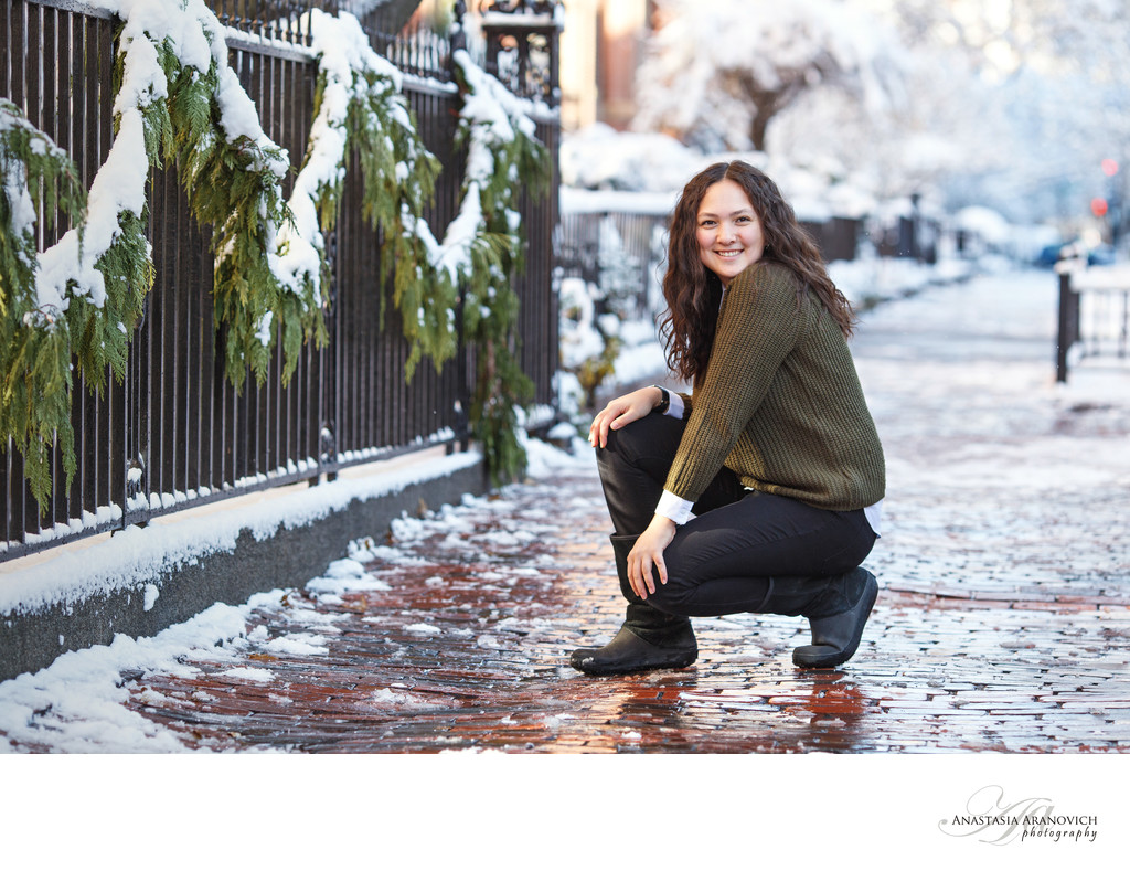 Winter Senior Pictures in Back Bay, Boston