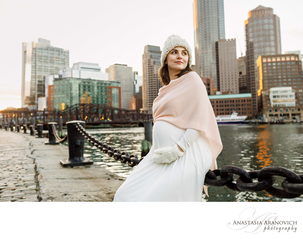 Winter Maternity Photos in Boston
