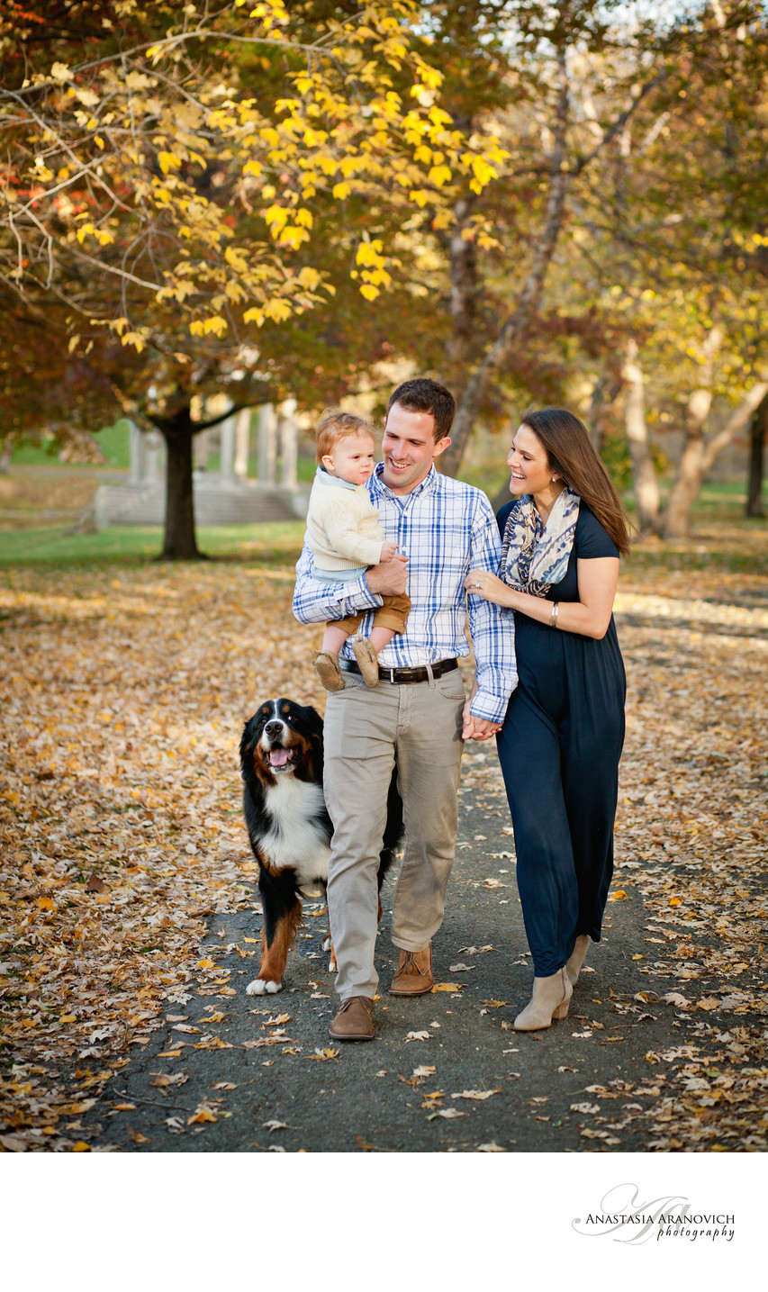Fall Family Photos with Dog