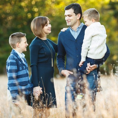 Family Portraits in Grassy Field