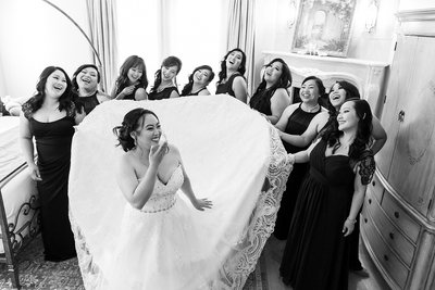 Happy bride fun bridesmaids at Arden Hills