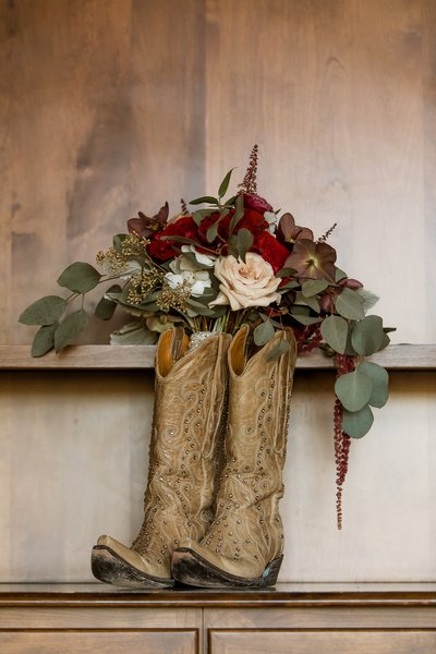 Catta Verdera Country Club Wedding boots and bouquet
