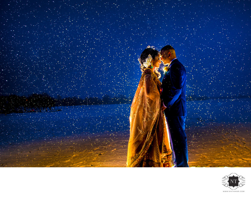 Snow wedding portrait by indian wedding photographer nik thakar