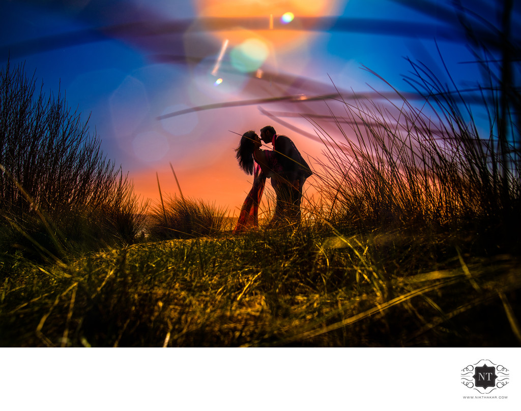 Pre wedding shoot at beach destination wedding photographer based in london silhouette portrait at pre wedding shoot asian Indian wedding sikh wedding photography
