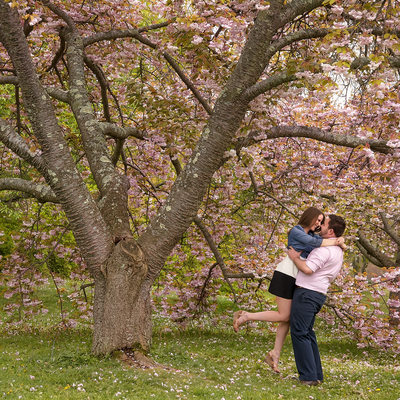 Planting Fields Arboretum Spring Engagement Photo