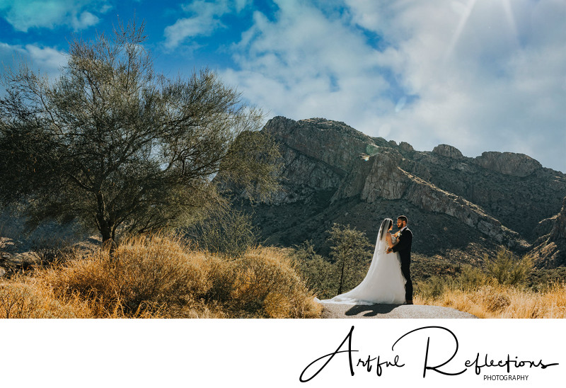 Wedding Portrait By The Mountain