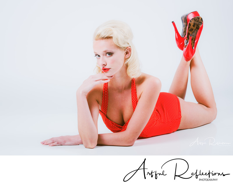 Blonde pin-up model