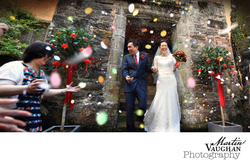 Colourful fun wedding photographs at Portmeirion