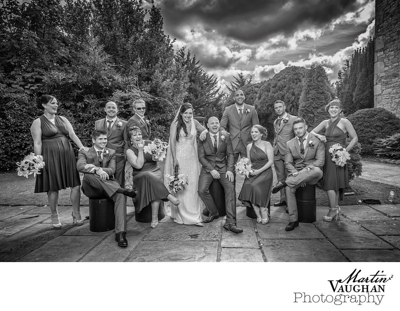 Stylish wedding group photography at Faenol Fawr Conwy