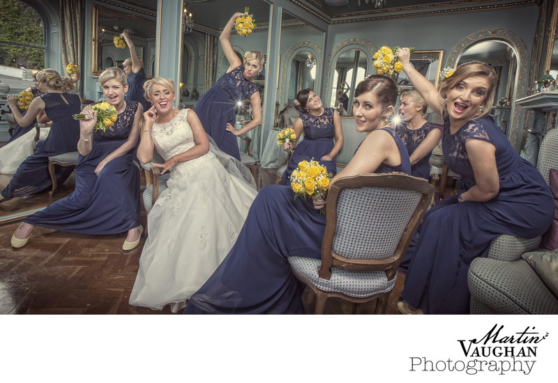 Fun wedding party photographs Portmeirion