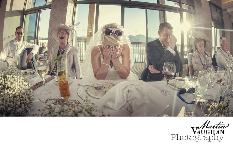 Fun wedding photography of speeches Quay Deganwy