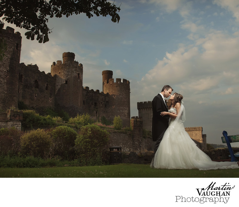 Quay Hotel and Spa romantic sunset wedding images Conwy