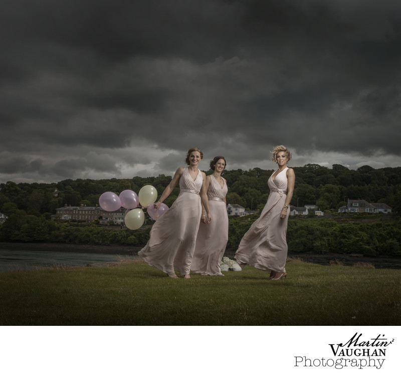 Martin Vaughan photo of stunning wind blown bridesmaids