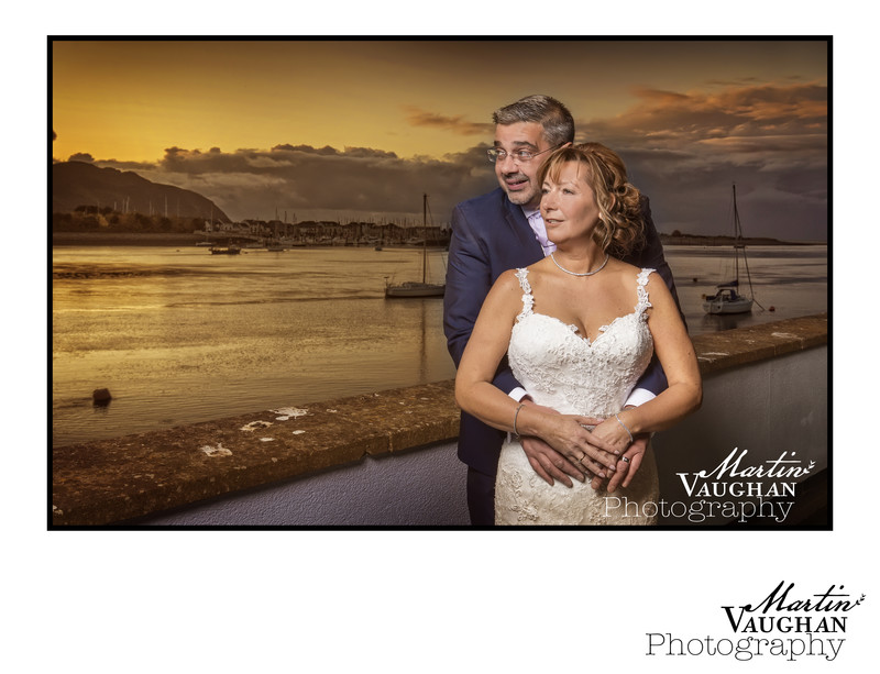 North Wales wedding photographer Martin Vaughan sunset Quay Hotel and Spa