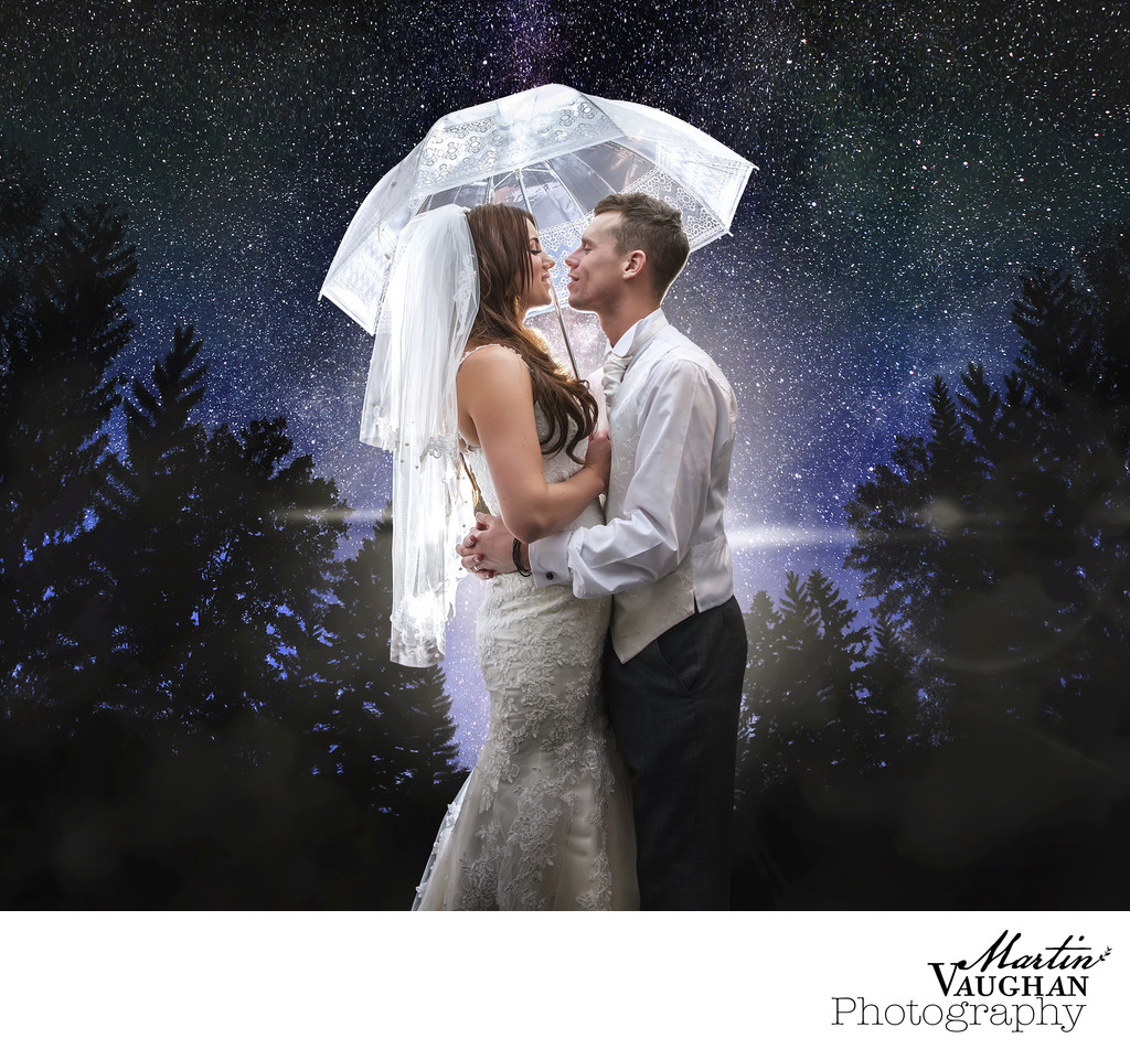 Rainy wedding photography Chester  and North Wales