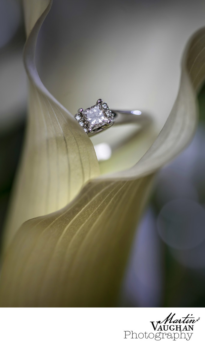 Wedding flowers and rings photography Martin Vaughan