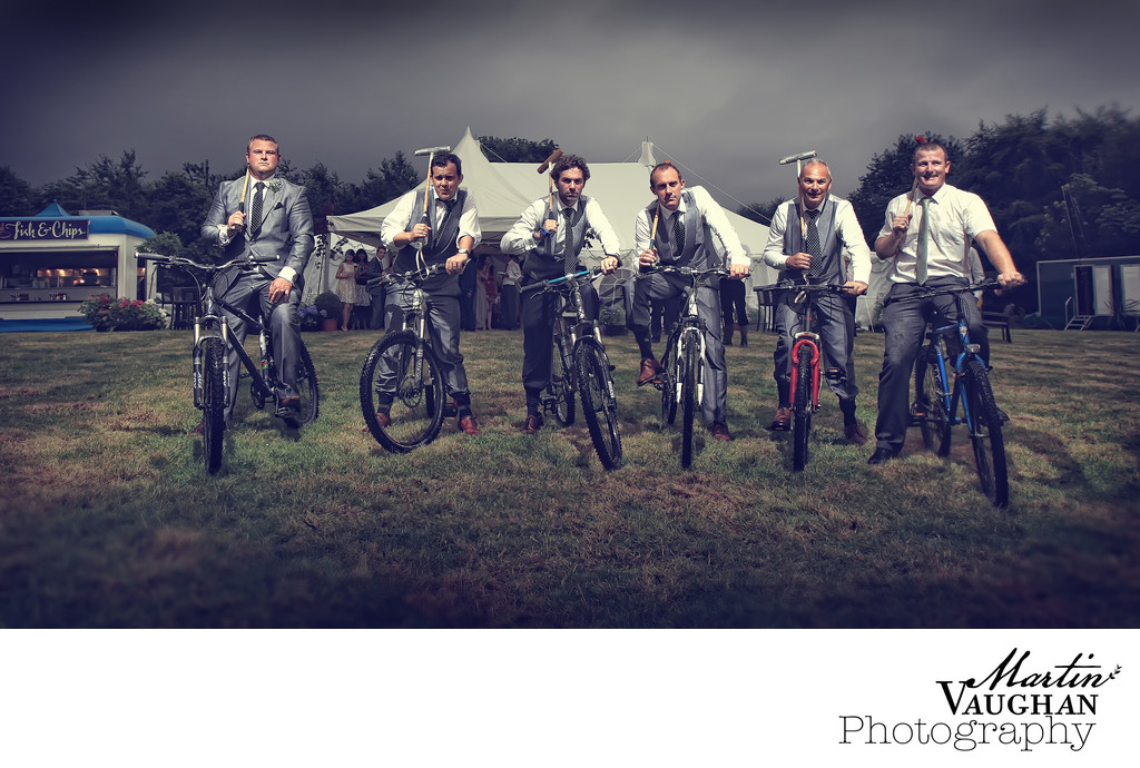 North Wales men play bicycle polo at wedding