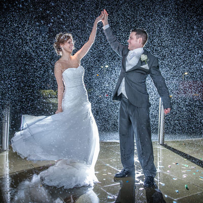 Best wedding photos in the rain Deganwy North Wales