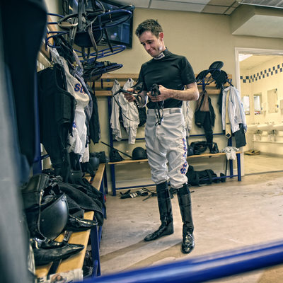 Jockey photographs at Chester racecourse on race day