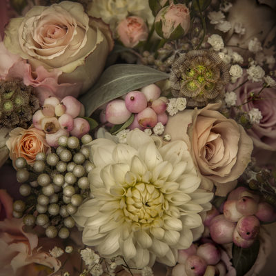 Wedding photographs of bridal flower bouquet Conwy