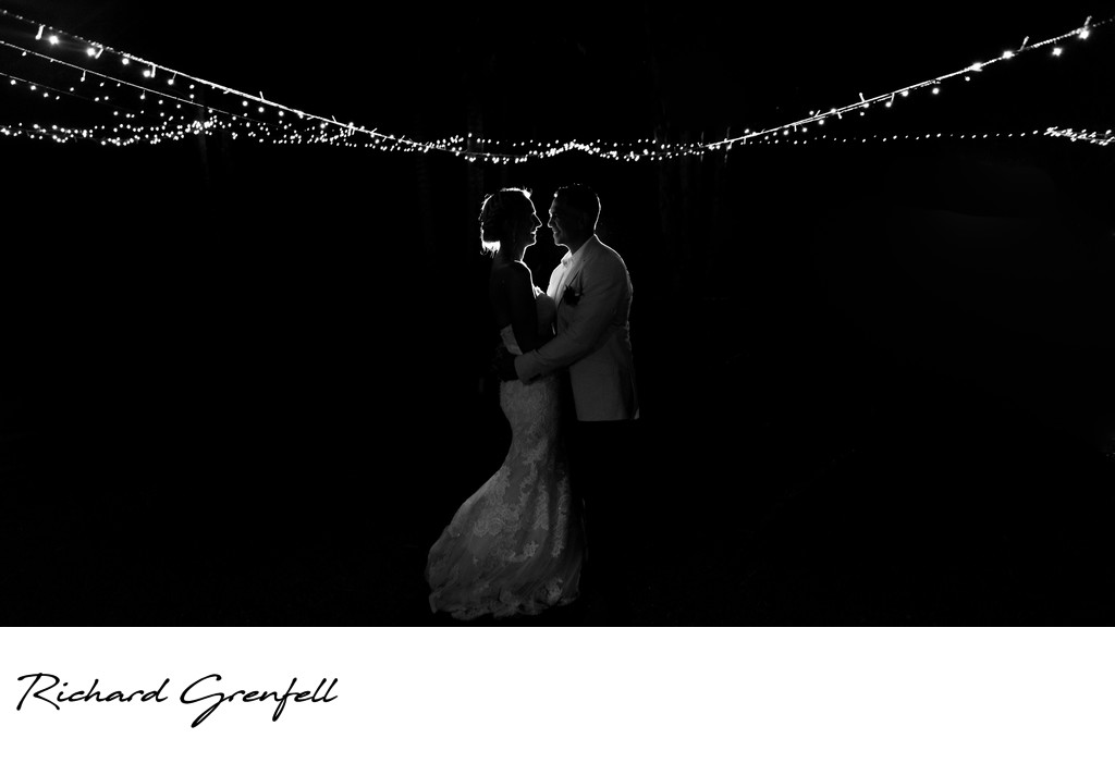 Silhouette with Fairy Lights from a Noosa Wedding