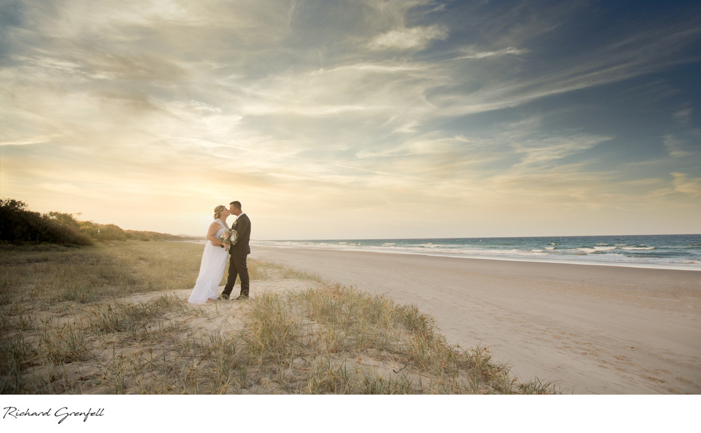 Beach Bride and Groom Photo at sunset at Surfair