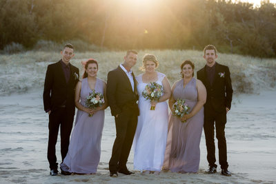 Bridal Party  Sunset Beach Photo at Marcoola