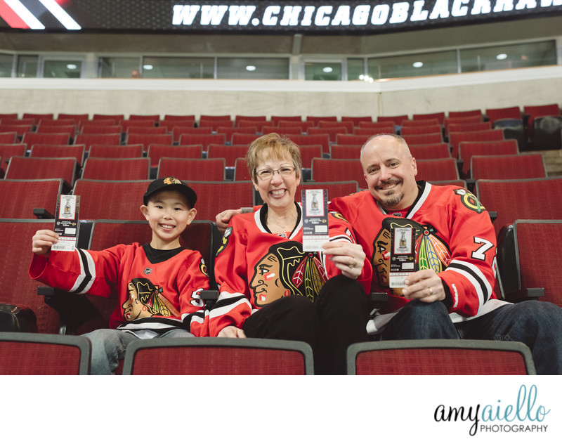 chicago family photo session at chicago blackhawks game zamboni ride