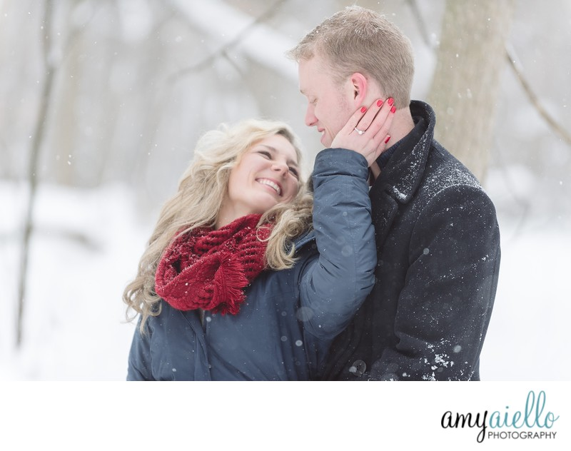 outdoor winter engagement session in the snow chicago wedding photographer