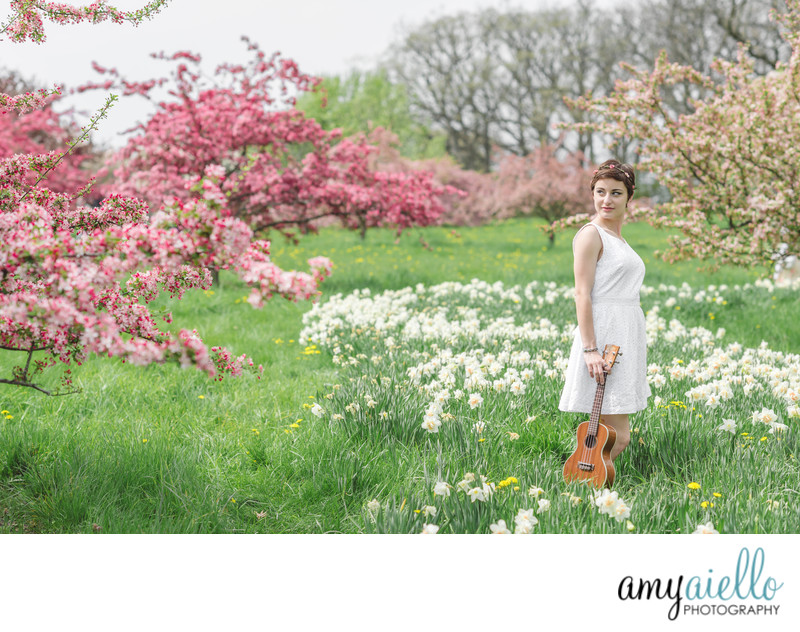 chicago suburbs high school senior photo photographer senior portraits morton arboretum spring flowers flowering fields high school senior girl artist musician