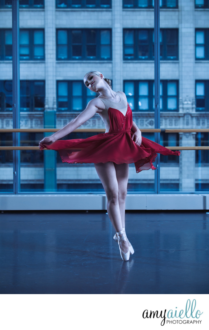beautiful ballerina grishko pointe shoes in joffrey ballet windowed dance studio chicago dancer professional dancer