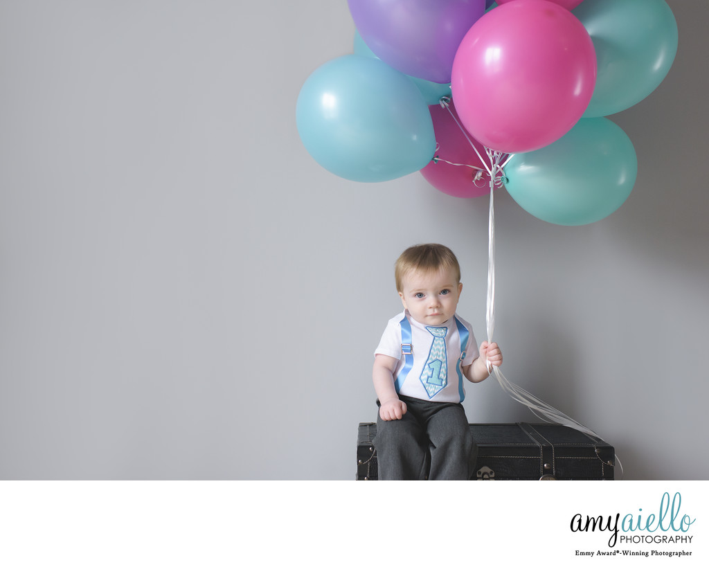 One Year Old First Birthday Photo Session Chicago Childrens Photographer Suburbs Cake Smash Balloons Twins Boy Girl