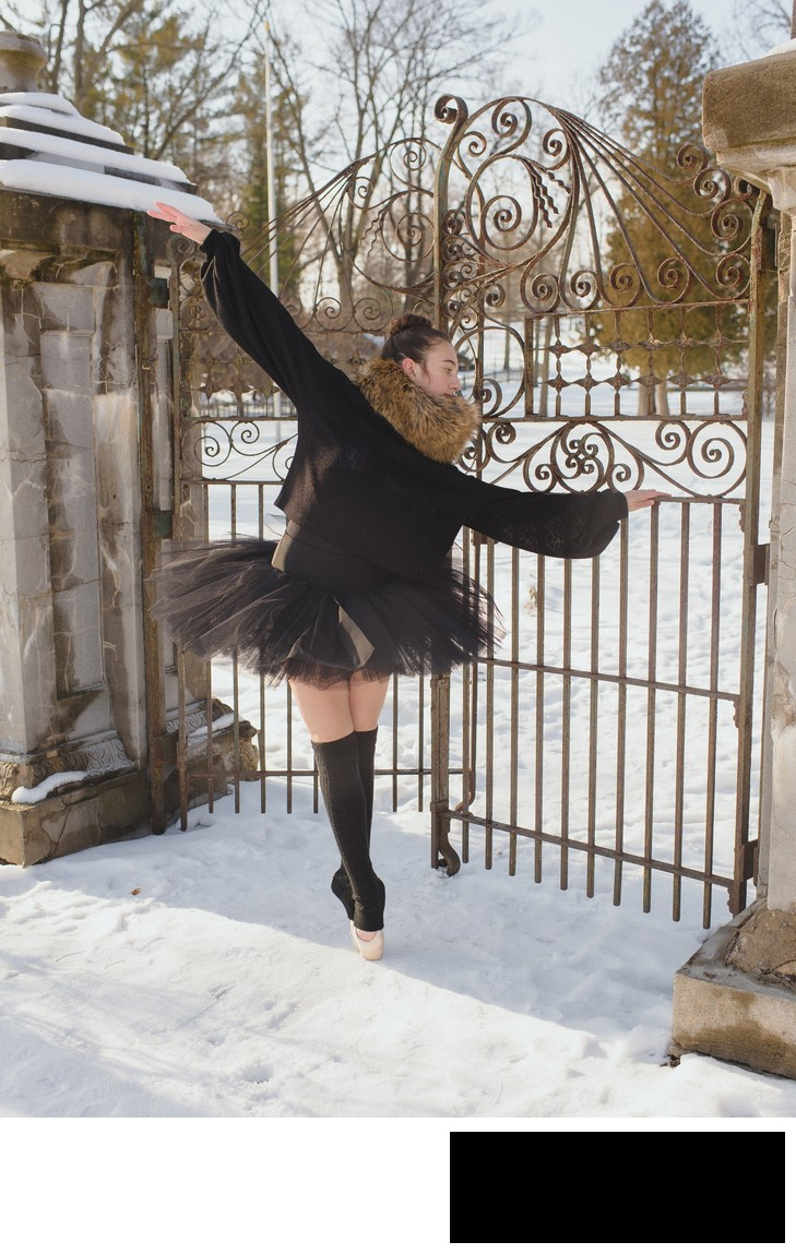 chicago winter dance mini session with amy aiello photography ballerina en pointe in snow