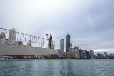 chicago wedding photographer unique artistic fine art dramatic fashion bride and groom olive park chicago skyline amy aiello photography crystal garden wedding