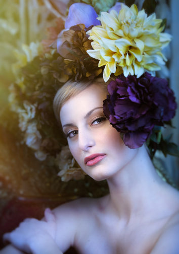 chicago fashion and beauty photographer floral headpiece amy aiello photography bianca sansosti makeup